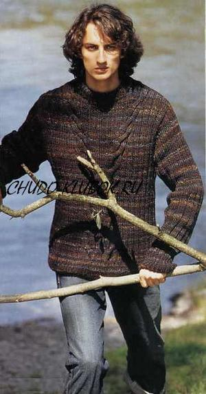 melanzhevyj pulover vyazanyj spiczami dlya muzhchiny 3