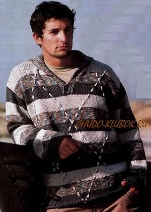 neobychnyj muzhskoj pulover s vyshitymi diagonalnymi polosami vyazanyj spiczami 5