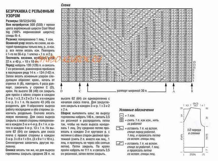 shema bezrukavka muzhskaya s relefnym uzorom vyazanyj spiczami 4
