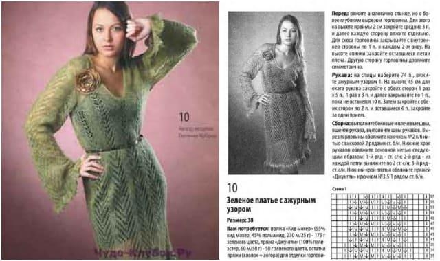 платье с ажурным узором вязаное спицами и крючком 768