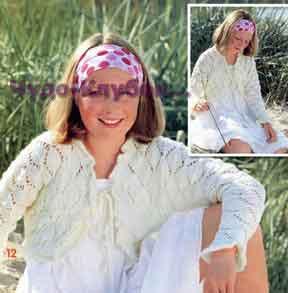 фото Болеро с ажурным узором вязаное спицами 10
