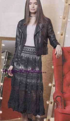 фото Длинная ажурная юбка вязаная крючком 152