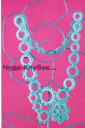 фото Колье бирюзового цвета вязаное крючком 29