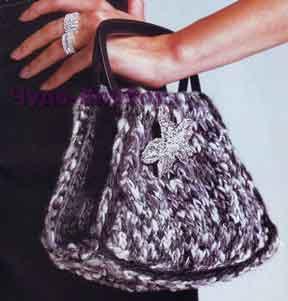 фото Меланжевая сумочка вязаная спицами 200