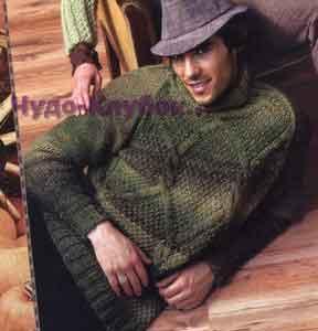 фото Мужской меланжевый свитер с воротником-гольф вязаный спицами 309