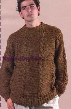 фото Мужской повседневный пуловер вязаный спицами 303
