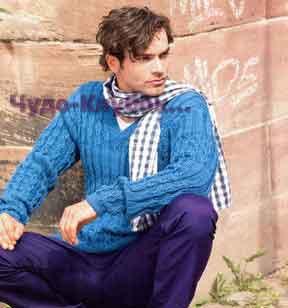 фото Мужской пуловер с рельефными узорами вязаный спицами 320