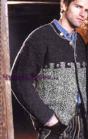 фото Мужской жакет с симметричными жгутами вязаный спицами и крючком 314