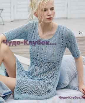 фото Платье с ажурными ромбами и полосками вязаное спицами 755