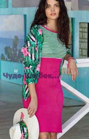 фото Платье с лифом в полоску вязаное спицами 760