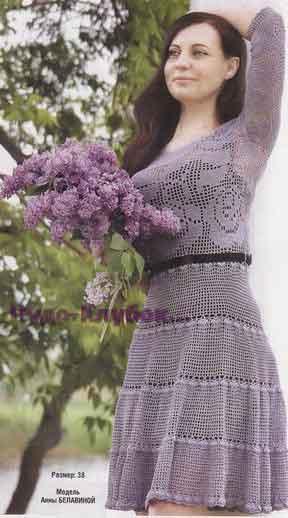 фото Платье вязаное в технике филейного кружева крючком 763
