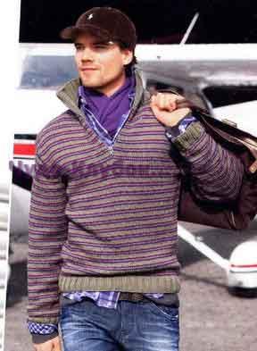 фото Полосатый пуловер с воротником поло вязаный спицами 327