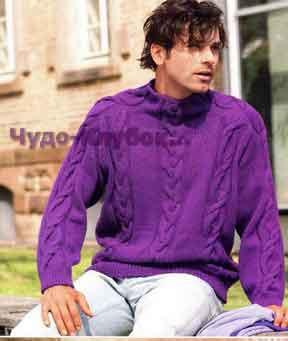 фото Пуловер с косами ярко-фиолетового цвета вязаный спицами 317