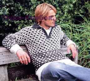 фото Пуловер с узором из сот вязаный спицами 329