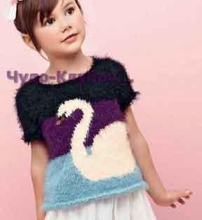 фото Пуловер с жаккардовым узором для девочки вязаный спицами 77