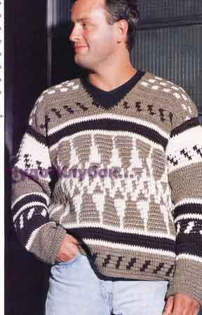 фото Пуловер в пастельной гамме с жаккардовым узором вязаный спицами 298