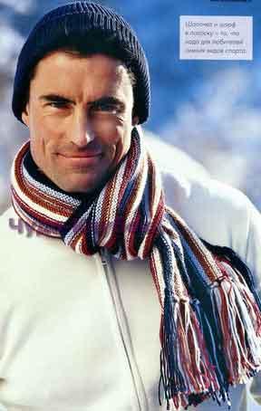 фото Шапка и шарф вязаные спицами 299