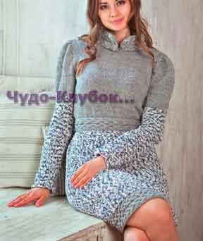 фото Серое платье с отделочной лентой и воротником из аранских узоров вязаное спицами 765