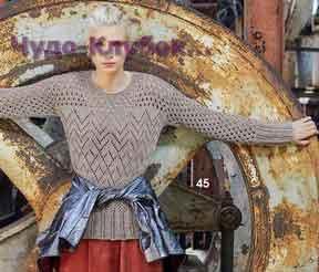 фото Серый пуловер с ажурными узорами вязаный спицами 1744
