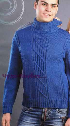 фото Синий свитер вязаный спицами 301