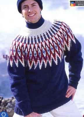 фото Свитер с кокеткой вязаный спицами 312