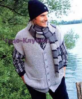 фото Свободный жилет и шарф в полоску вязаные спицами 328