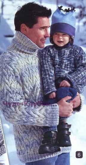 фото Теплый мужской свитер со жгутами вязаный спицами 307