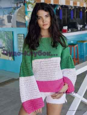 фото Трехцветный пуловер вязаный спицами 1743