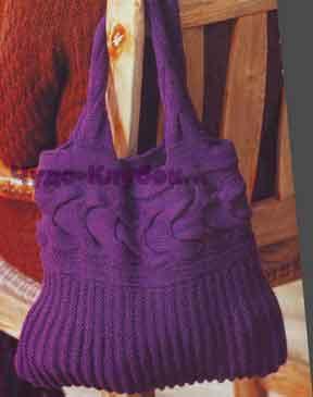 фото Вместительная фиолетовая сумка вязаная спицами 201