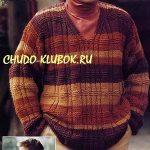 polosatyj muzhskoj pulover vyazanyj spiczami 1