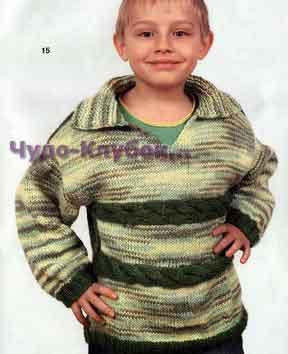 фото Меланжевый пуловер с косами вязаный спицами и крючком 106