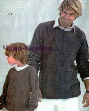 фото Мужской и детский пуловер в клетку вязаный спицами 335