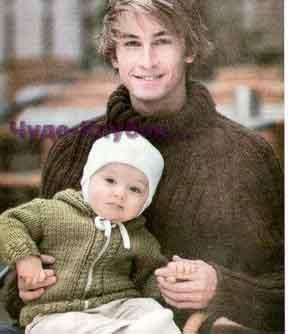 фото Мужской свитер реглан и детский зеленый жакет вязаные спицами 340