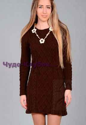 фото Платье с косами и ромбами вязаное спицами и крючком 771