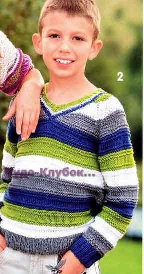 фото Полосатый пуловер реглан вязаный спицами 103