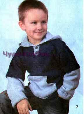 фото Пуловер с капюшоном с карманом-кенгуру вязаный спицами 25