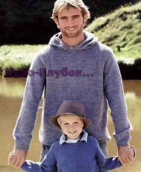 фото Пуловер с капюшоном вязаный спицами 336