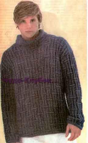 фото Пуловер с круглым вырезом и синий свитер вязаные спицами 337