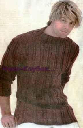 фото Пуловер в полоску вязаный спицами 334