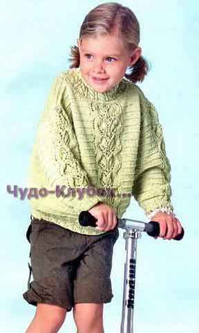 фото Светло-зеленый пуловер с косой вязаный спицами 105