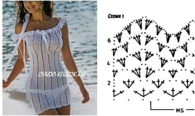 платье пляжное вязаное спицами и крючком 4
