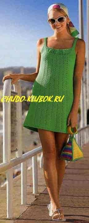 фото Летнее платье вязаное спицами и крючком 9