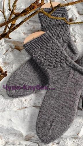 фото Мужские носки со структурным узором вязаные спицами 60