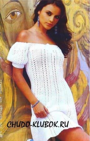 фото Платье с рукавами-фонариками вязаное крючком 37