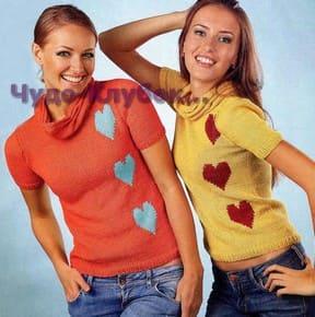 фото Пуловер с сердечками вязаный спицами 1754