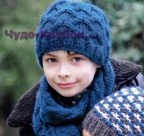 фото Шапка и шарф синего цвета вязаные спицами 24
