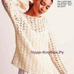 Belyiy pulover s azhurnyim uzorom vyazanyiy spitsami 1765
