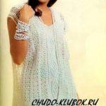 Belyiy zhilet s fileynyim uzorom i kruzhevnoy kaymoy vyazanyiy kryuchkom 10