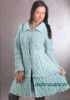 фото Бирюзовое пальто вязаное спицами 3