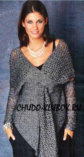 фото Блуза с запахом вязаная крючком 21